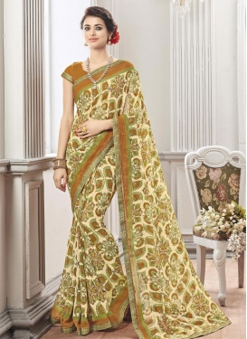 Stylish Faux Chiffon Brown and Cream Traditional Saree