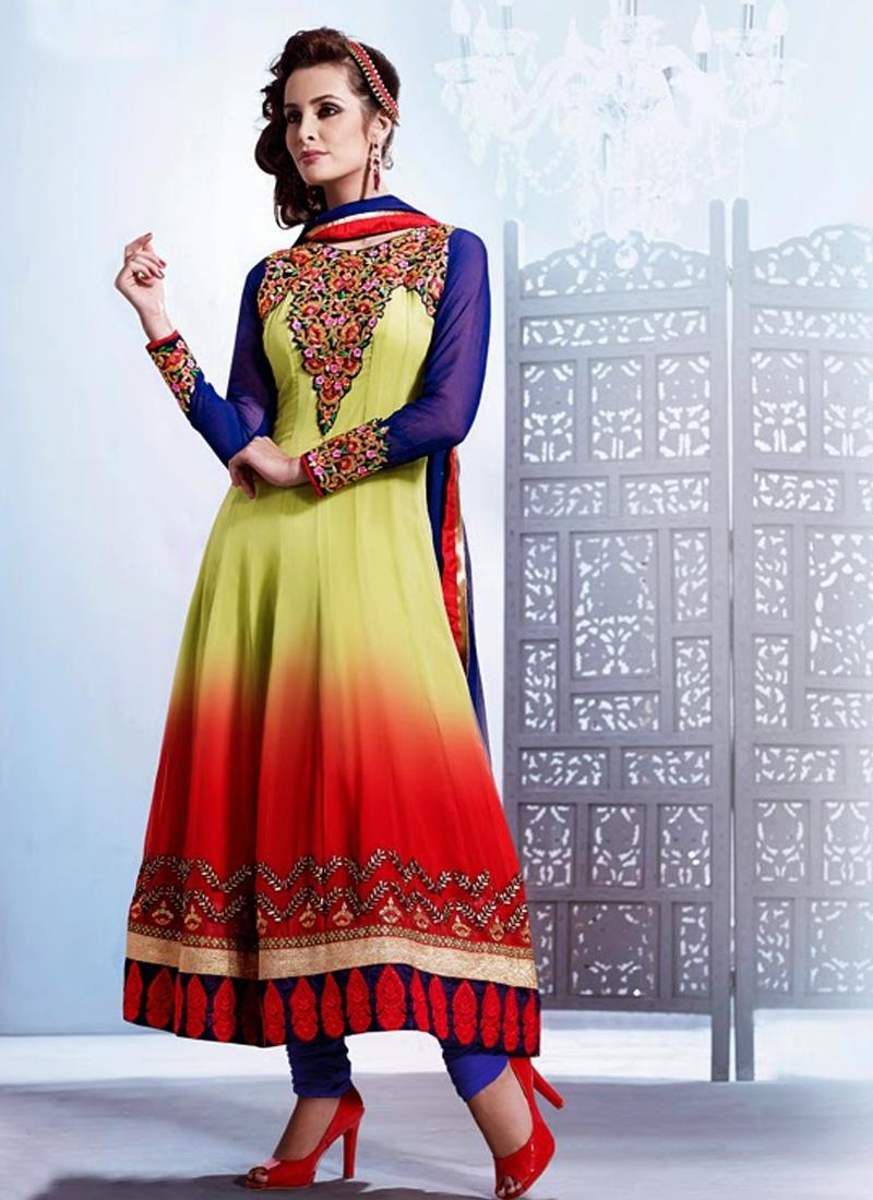 Stylish Faux Georgette Anarkali Salwar Kameez