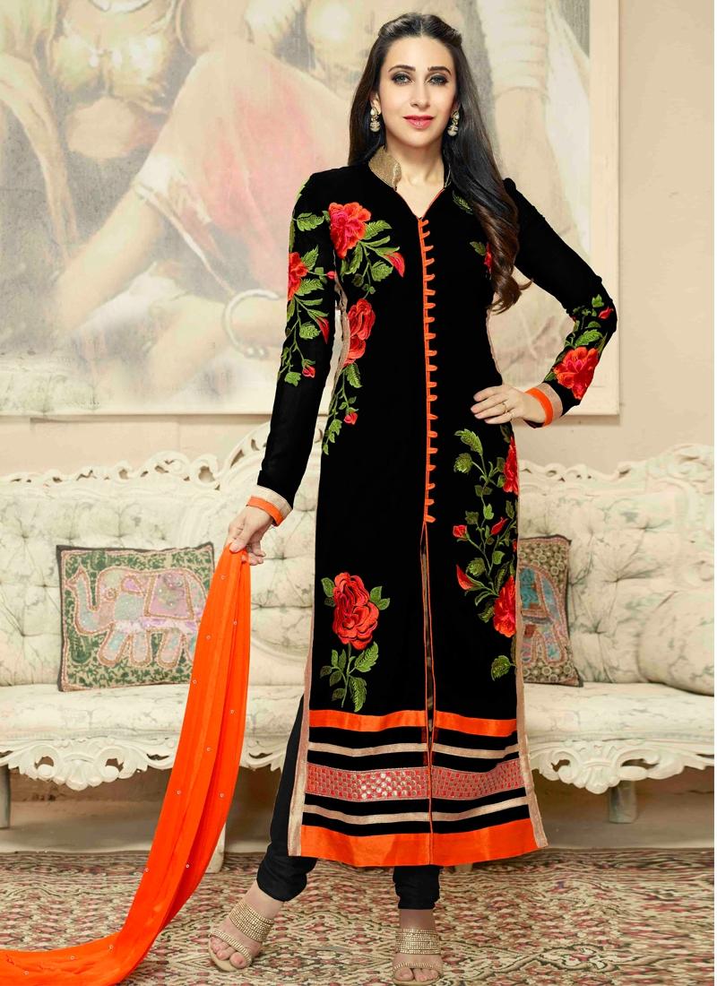 073628cec1 Stylish Floral Work Karisma Kapoor Party Wear Suit