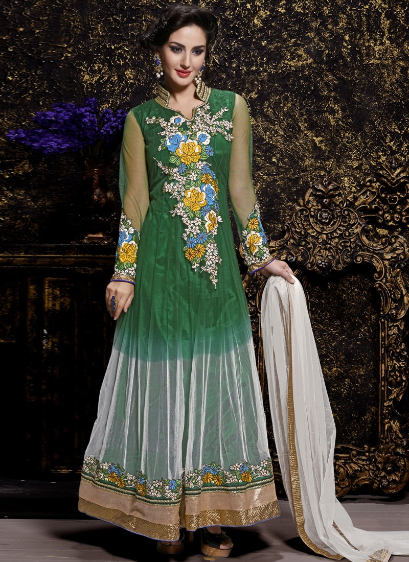 Stylish Floral Work Long Length Anarkali Suit