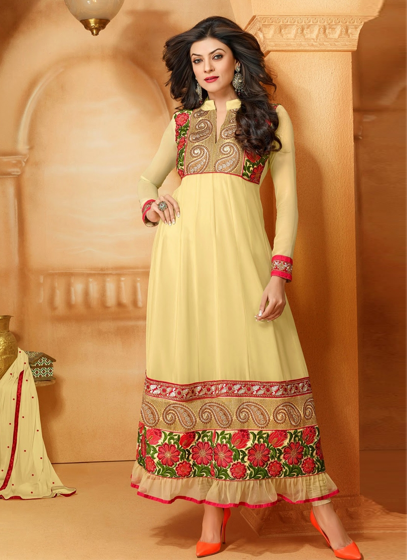 Stylish Floral Work Sushmita Sen Bollywood Suit