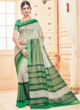 Stylish Green and Off White  Art Silk Trendy Classic Saree