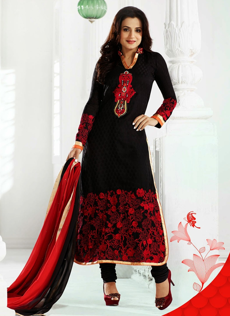 Stylish Jaal Work Amisha Patel Bollywood Salwar Kameez