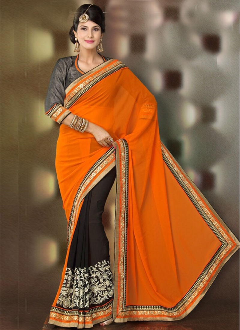 Stylish Jaal Work Georgette Half N Half Party Wear Saree