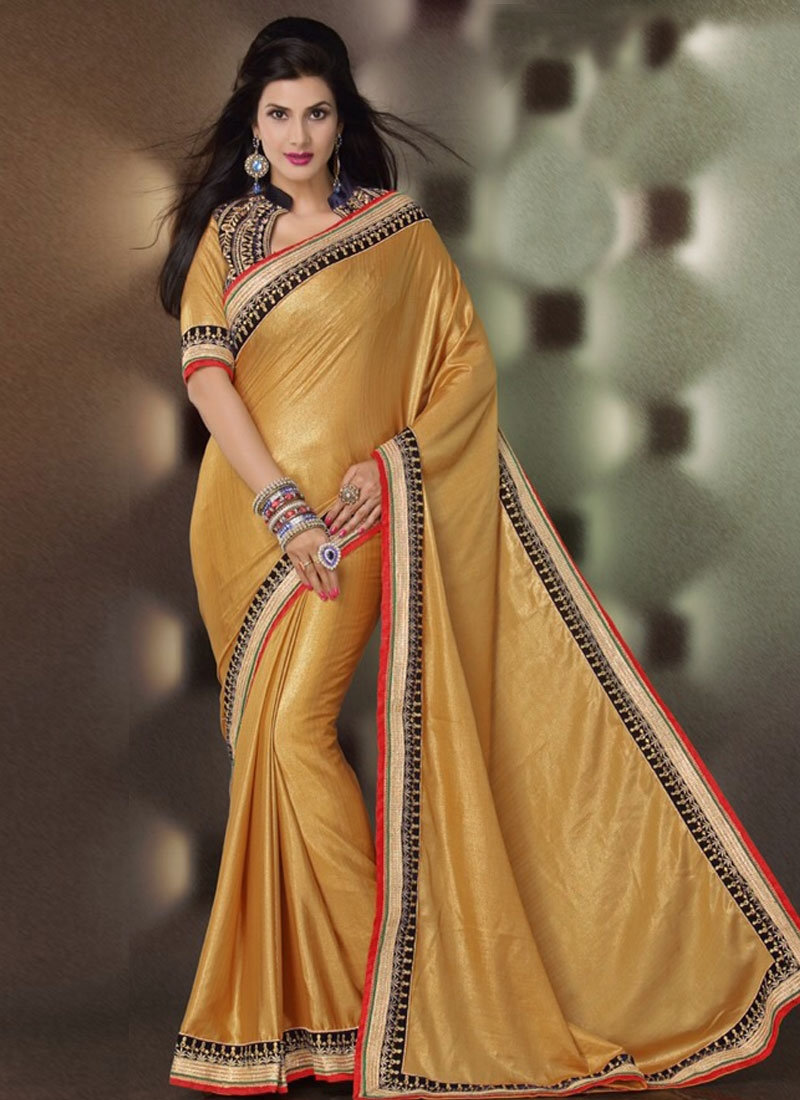 Stylish Lace And Resham Work Party Wear Saree
