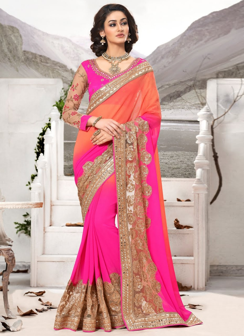 Stylish mirror And Sequins Work Designer Saree