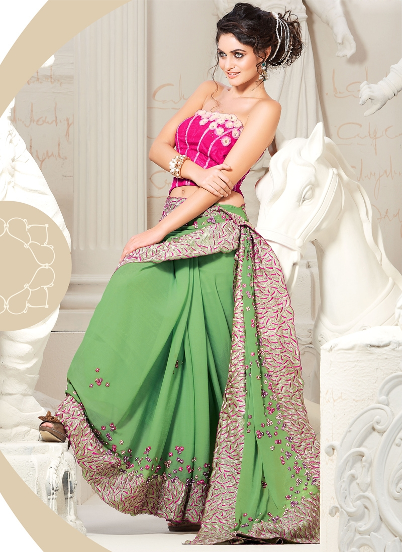 Stylish Patch Enhanced Party Wear Saree