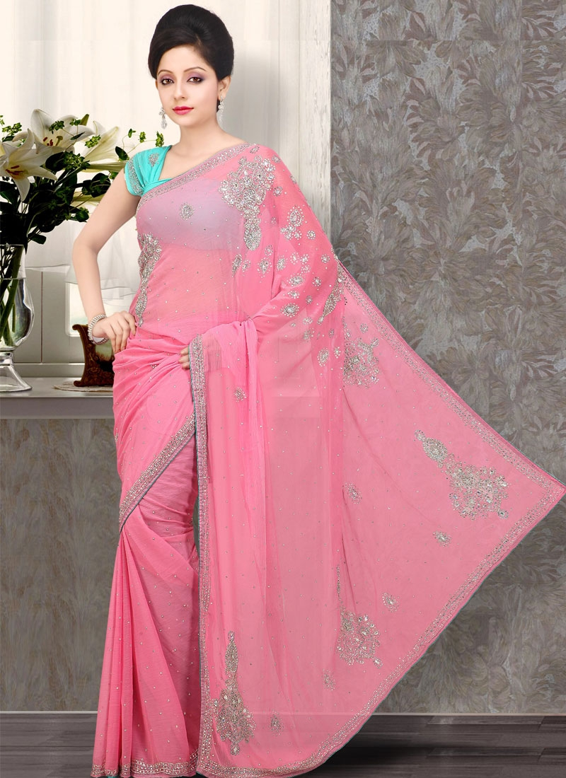 Stylish Pink Embroidered Chiffon Saree