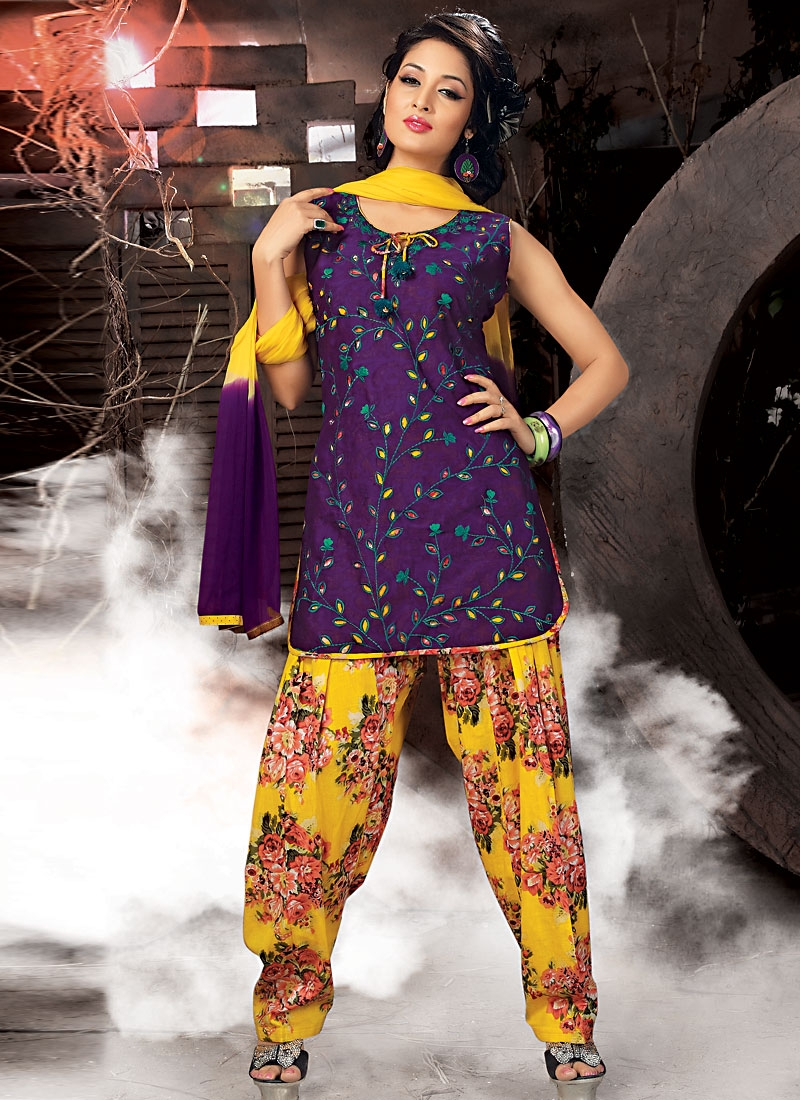 Stylish Purple And Gold Readymade Salwar Suit