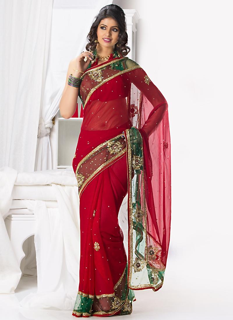 Stylish Red Chiffon Fabric Wedding Saree