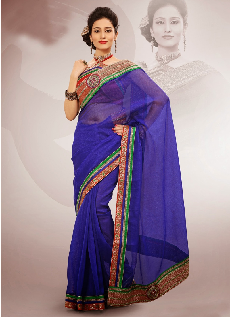Stylish Resham And Patch Work Casual Saree