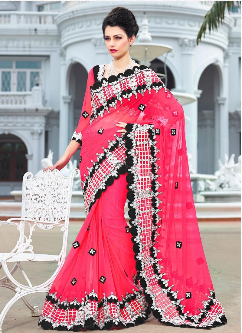 Stylish Stone Enhanced Bridal Saree