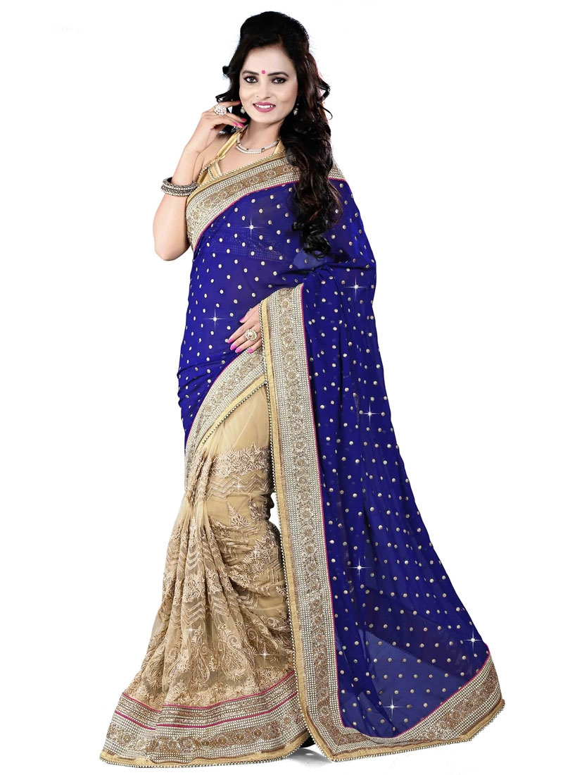 Suave Beads And Multi Enhanced Half N Half Wedding Saree