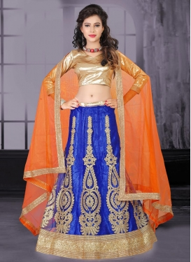 Suave Blue and Coral Net Trendy Lehenga Choli For Festival