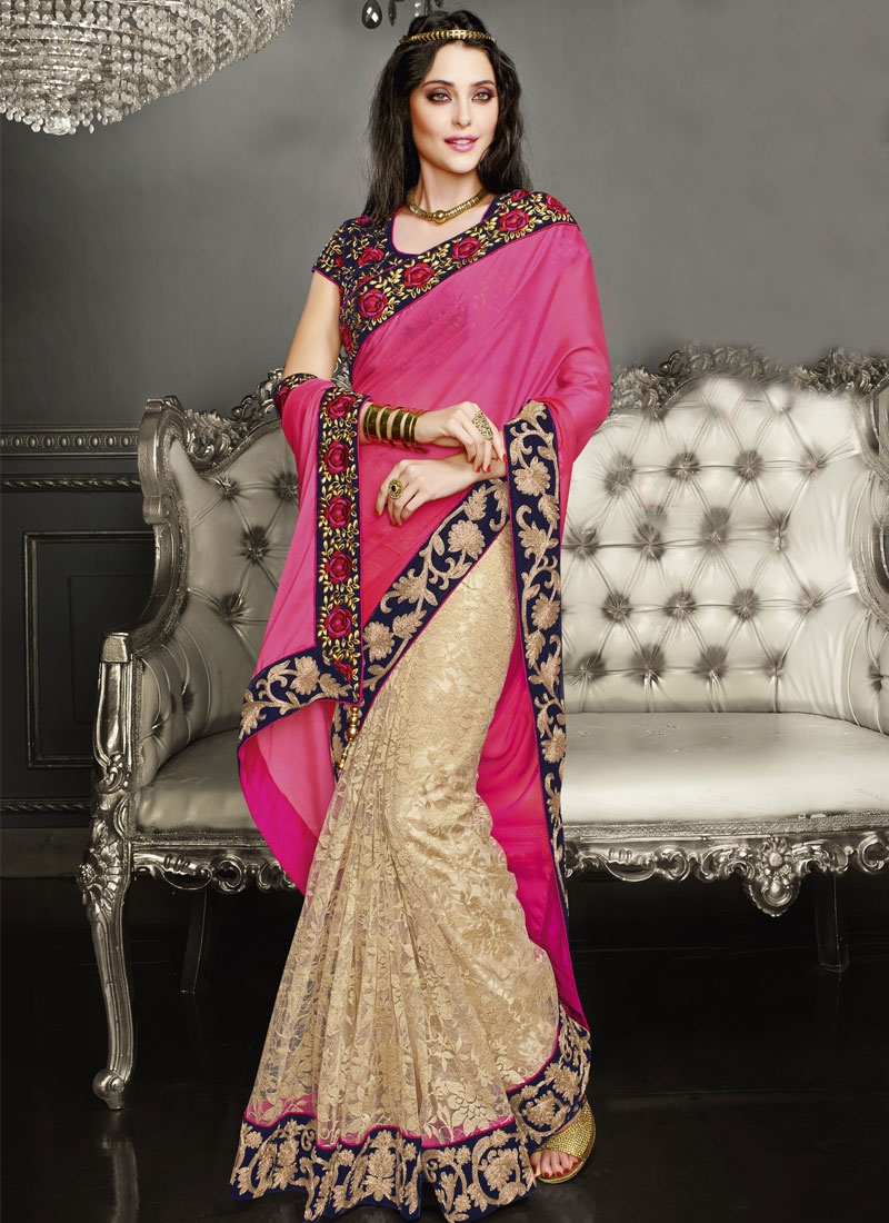 Suave Brasso Net Lace Work Half N Half Wedding Saree