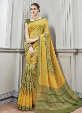 Suave  Digital Print Work Art Silk Olive and Yellow Trendy Saree For Casual