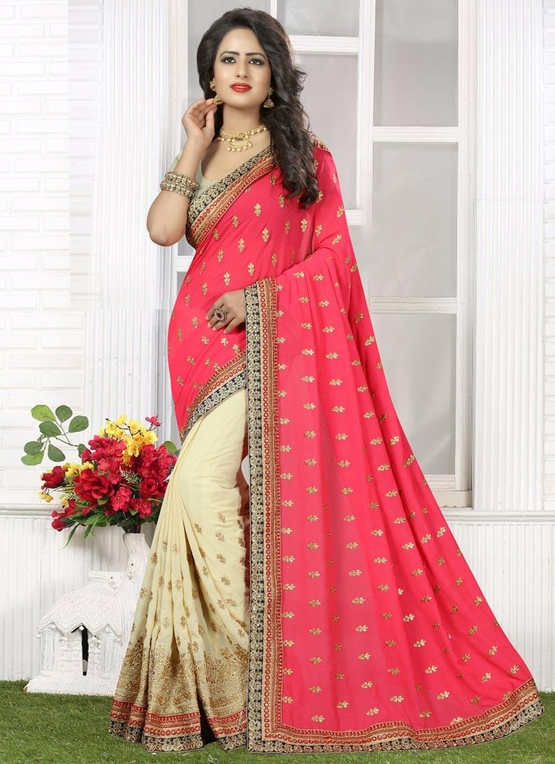 Suave Embroidered Work Cream and Rose Pink Half N Half Trendy Saree