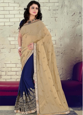 Suave Faux Georgette Beige Half N Half Designer Saree For Ceremonial
