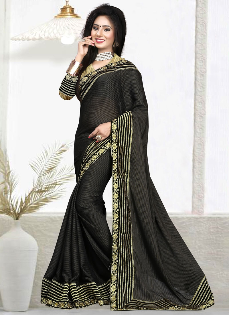 Suave Lace Work Faux Chiffon Party Wear Saree