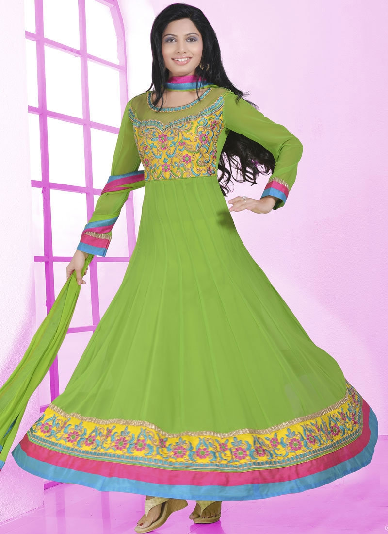 Suave Mint Green Color Lace  Work Anarkali Salwar Kameez