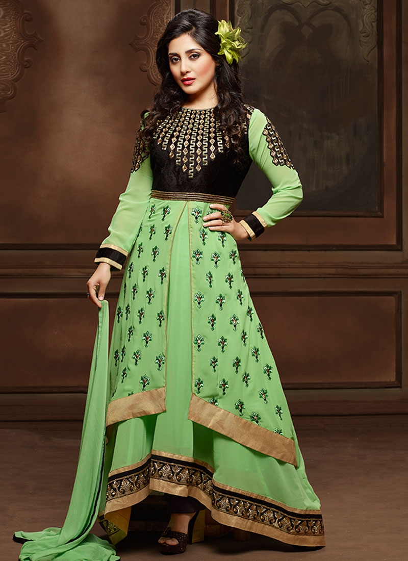 Suave Resham Work Double Layered Party Wear Salwar Kameez