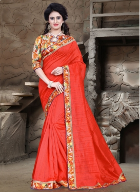 Suave Tomato Color Casual Saree