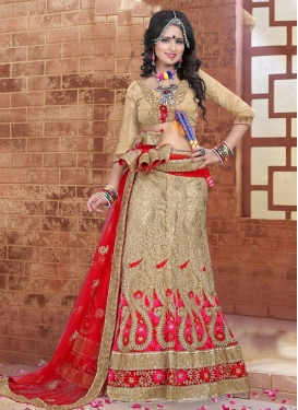 Subtle Beige and Red  A - Line Lehenga For Bridal