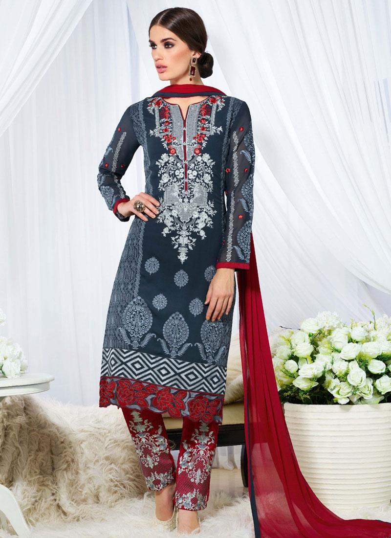 Subtle Booti Work Pant Style Pakistani Salwar Suit