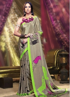 Subtle Crepe Silk Digital Print Work Trendy Classic Saree For Casual