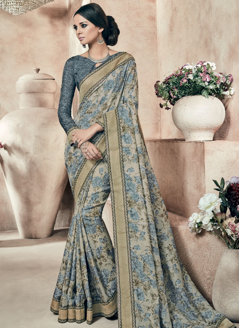 Subtle Digital Print And Lace Work Party Wear Saree