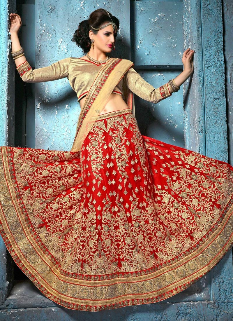 Subtle Embroidery And Stone Work Wedding Lehenga Choli