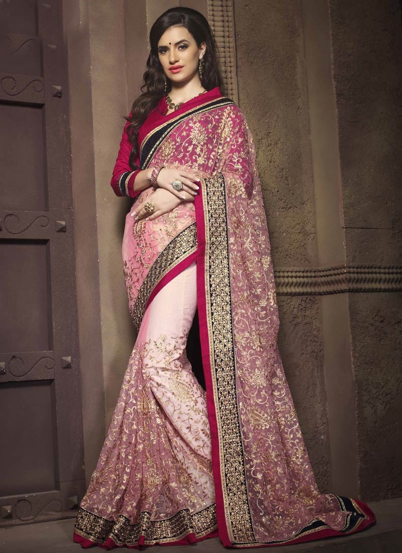 Subtle Embroidery Work Net Wedding Saree