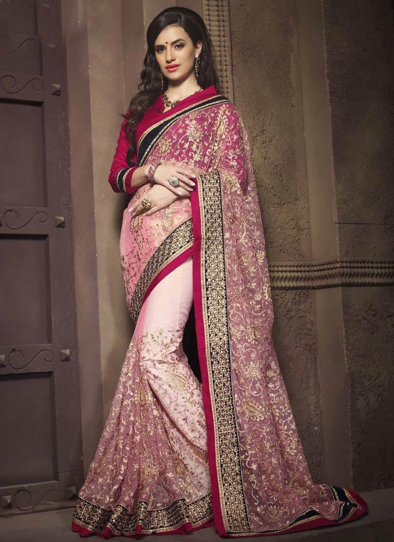 Subtle Embroidery Work Net Wedding Saree