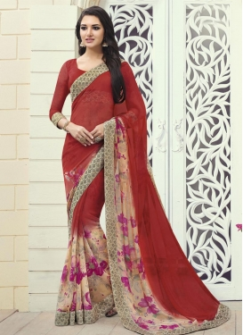 Subtle Faux Georgette Digital Print Work Beige and Red Trendy Classic Saree