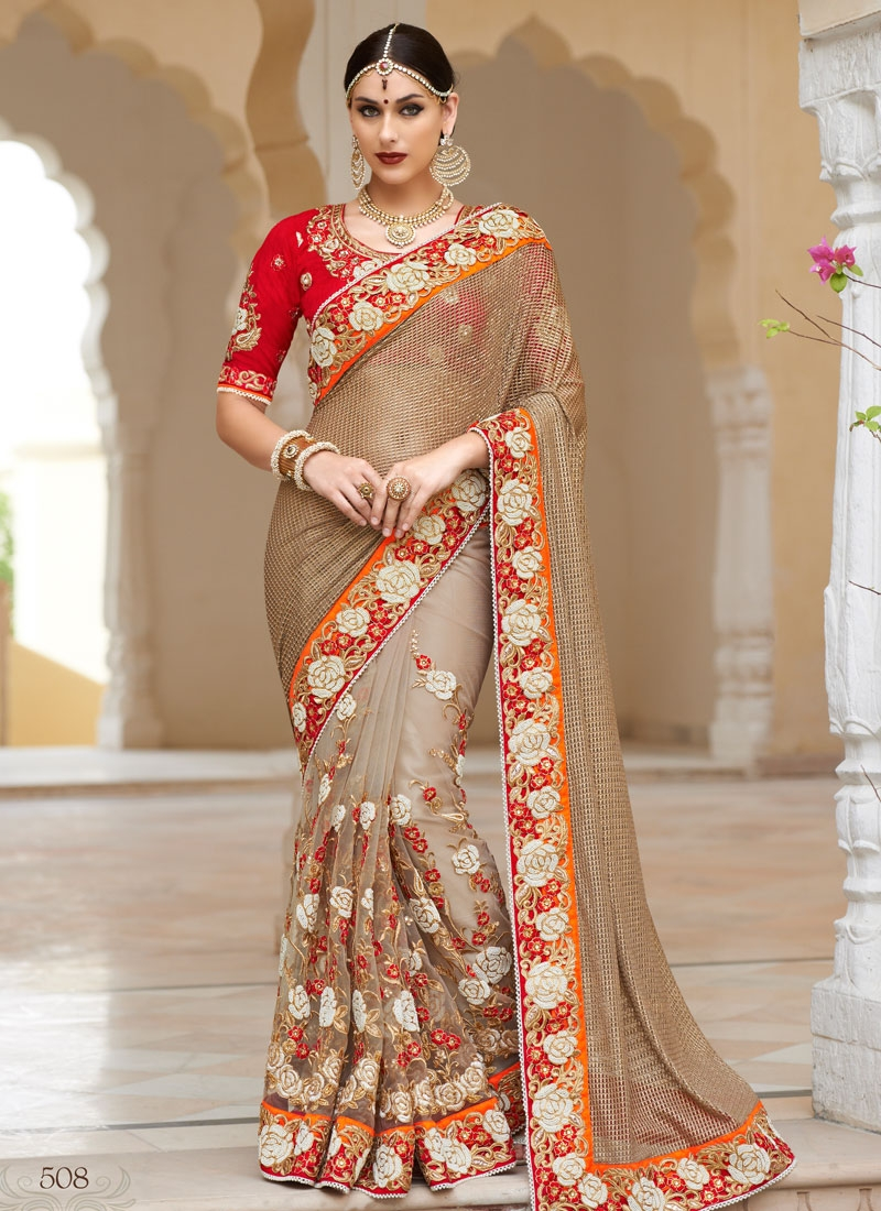 Subtle Floral And Beads Work Bridal Saree