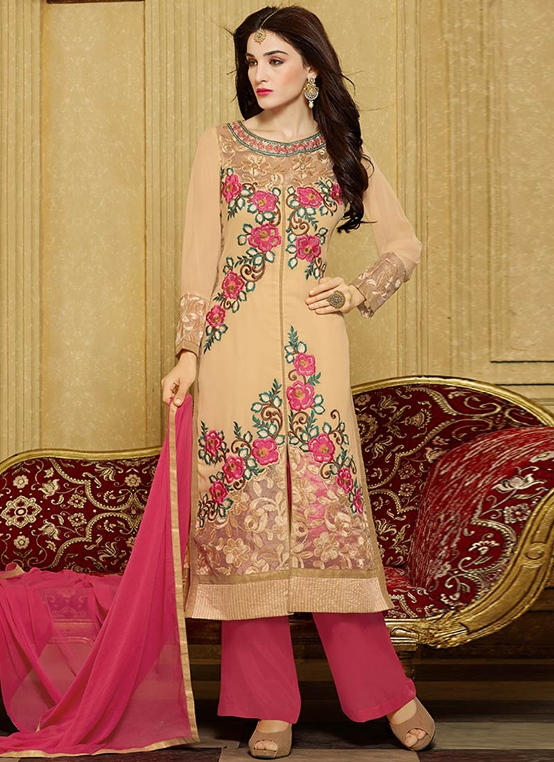 Subtle Floral Work Palazzo Style Party Wear Suit