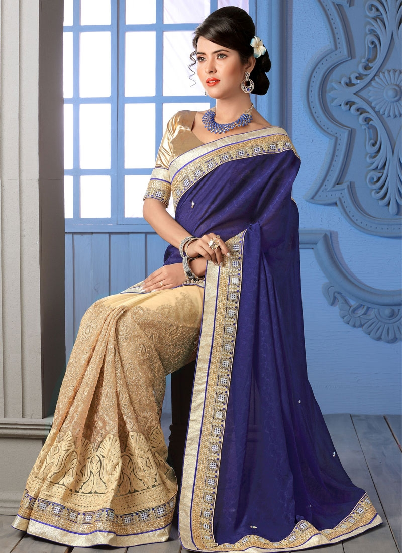 Subtle Jaal Work Half N Half Wedding Saree