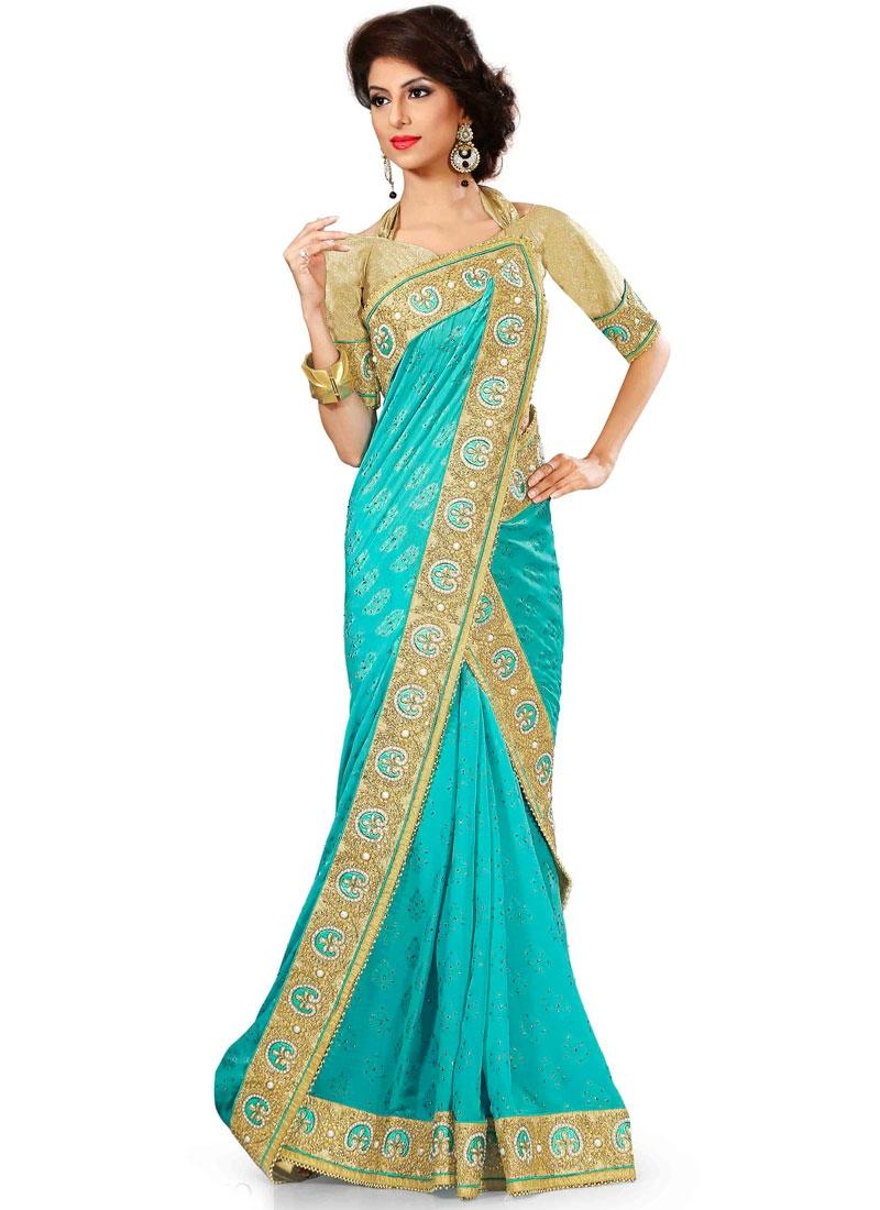 Subtle Lace Work Aqua Blue Color Faux Chiffon Party Wear Saree