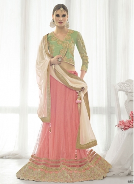 Subtle Patch Border Work Salmon Color Designer Lehenga Choli