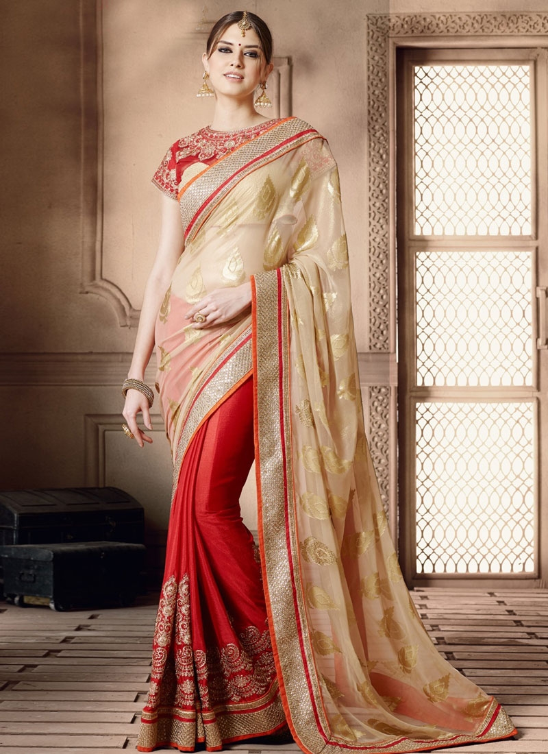 Subtle Pure Georgette Half N Half Wedding Saree