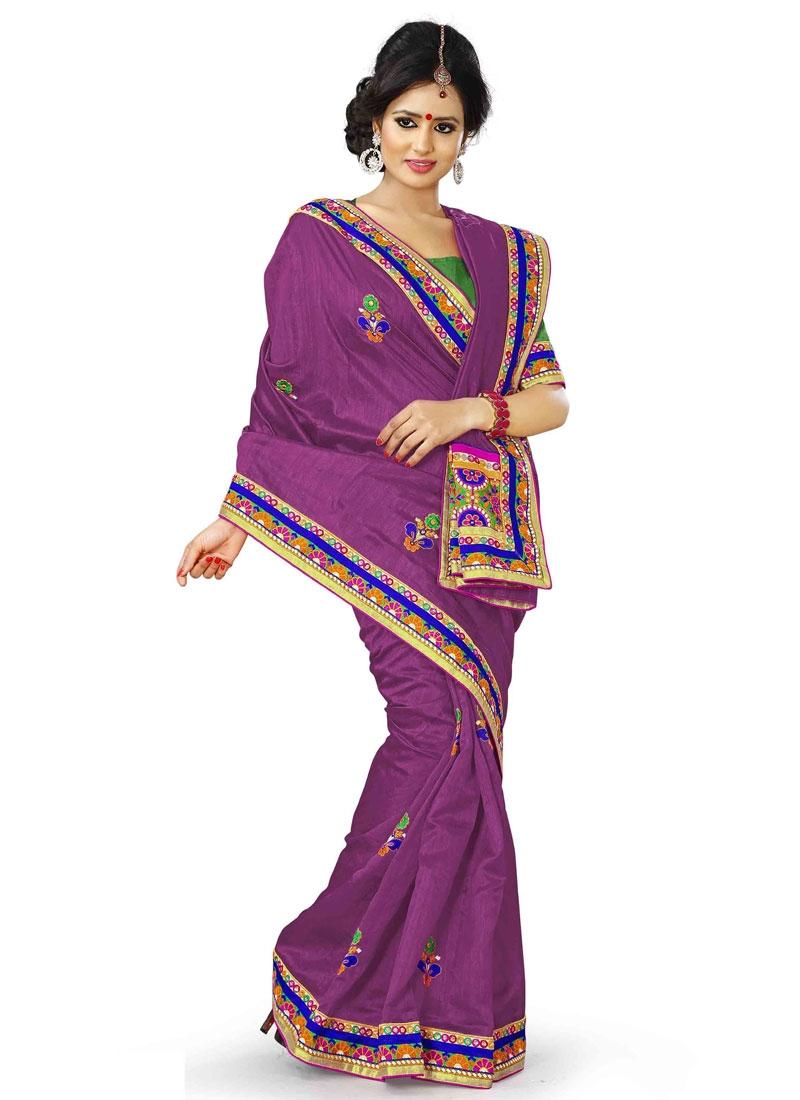 Subtle Purple Color Bhagalpuri Silk Designer Saree