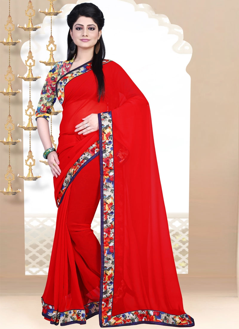 Subtle Red Color Faux Georgette Lace Work Casual Saree