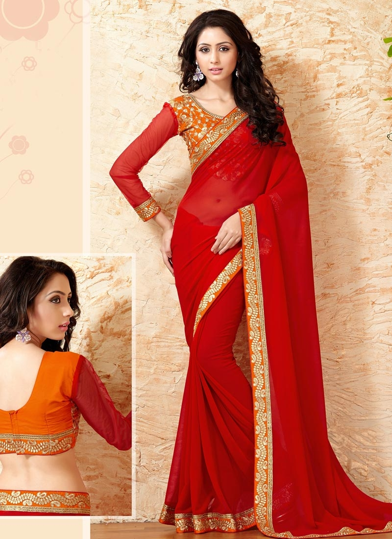 Subtle Red Color Lace Work Party Wear Saree
