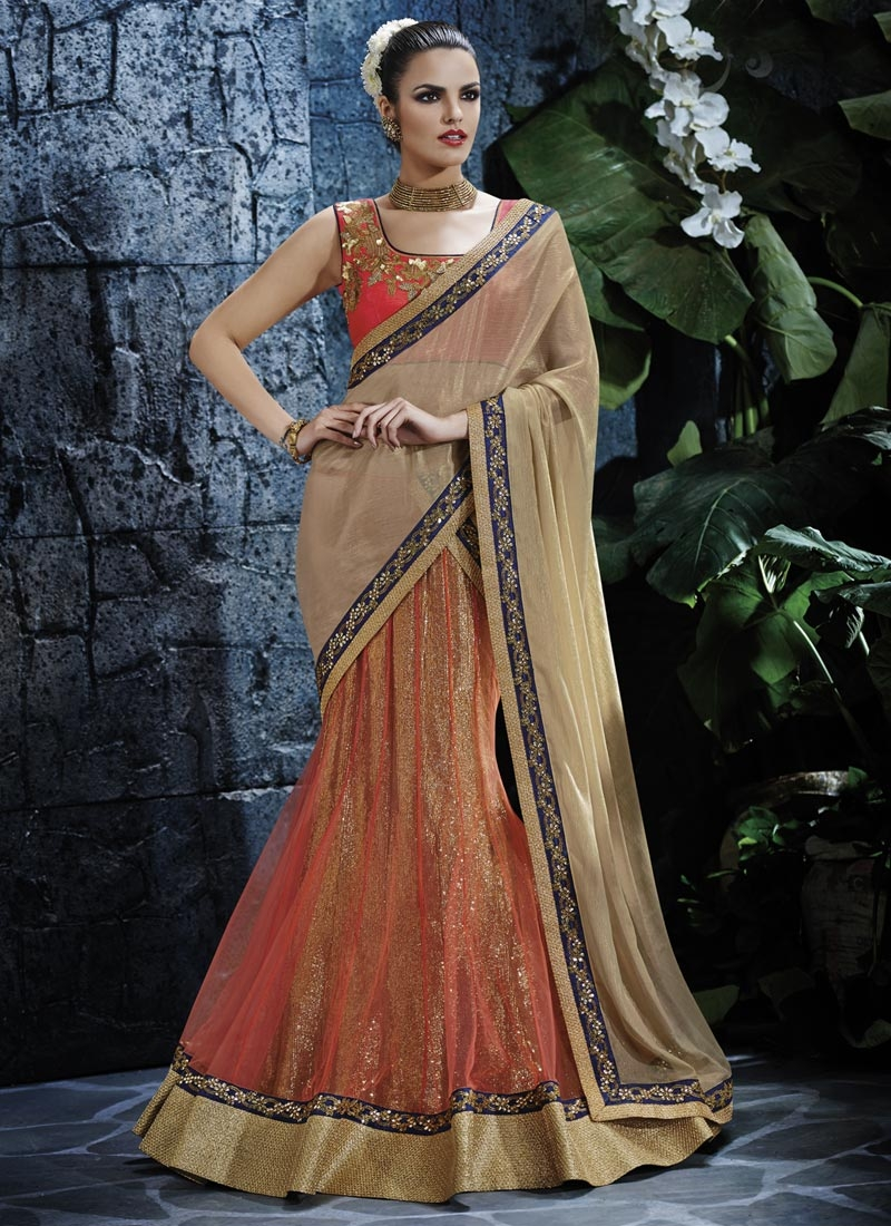 Subtle Sequins Work Chiffon Satin Lehenga Saree