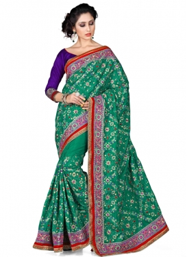 Subtle Stone And Lace Work Designer Saree
