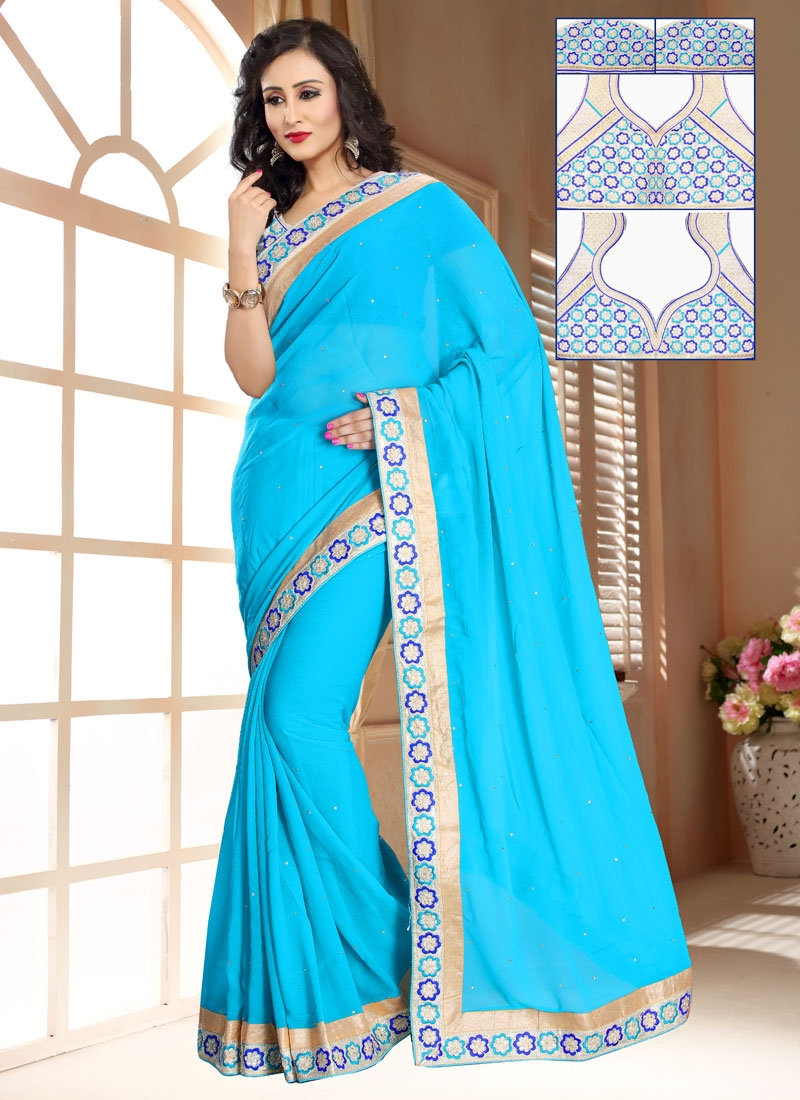 Subtle Stone And Lace Work Light Blue Color Casual Saree
