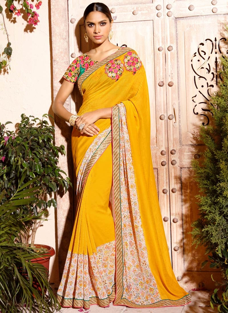 Subtle Stone And Sequins Work Party Wear Saree