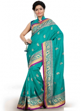 Sumptuous Aqua Blue Color Party Wear Saree