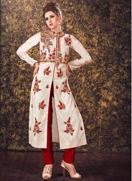 Sumptuous Beige and Red Readymade Designer Salwar Suit