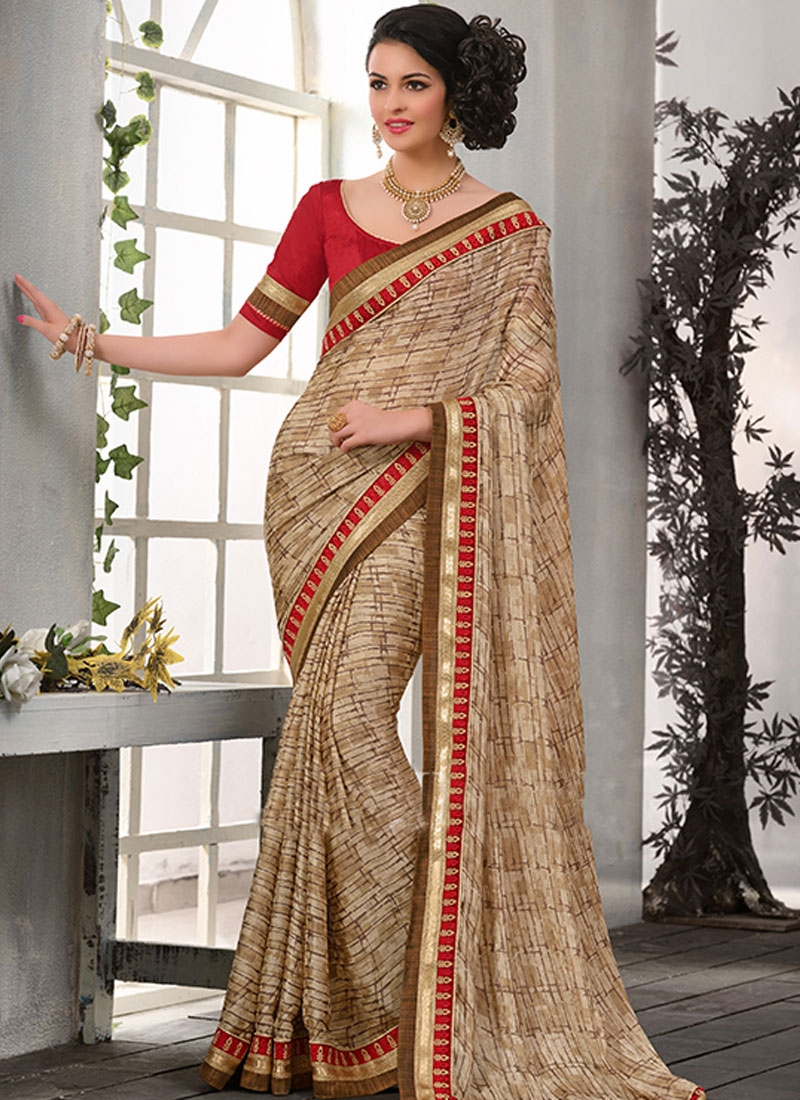 Sumptuous Beige Color Lace Work Casual Saree